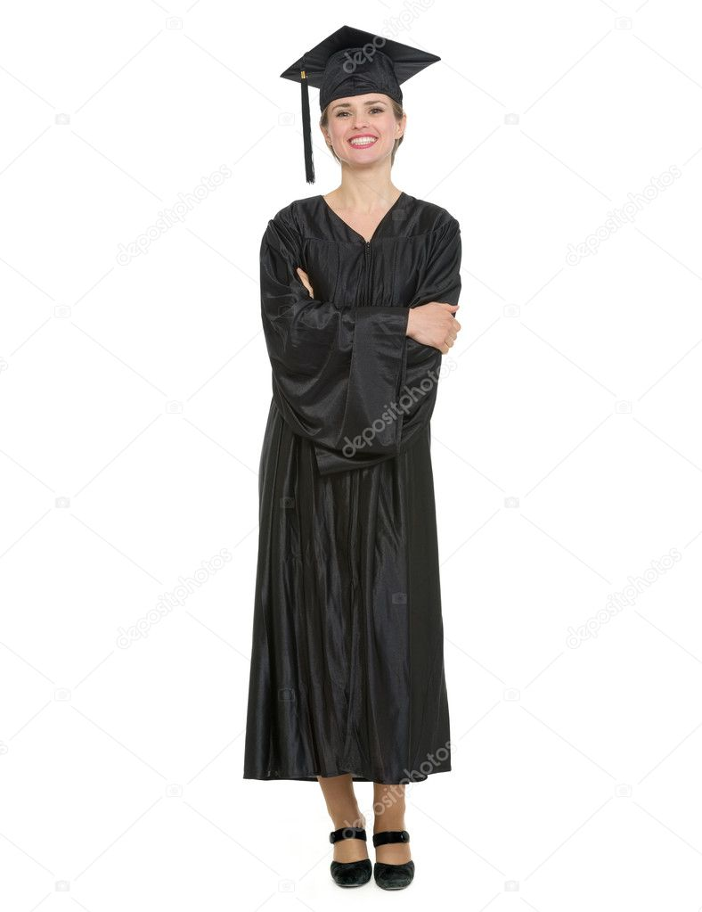 Full length portrait of woman in graduation cap and gown. — Stock ...