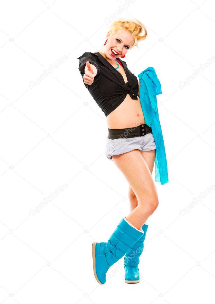 Молодая девушка в синем