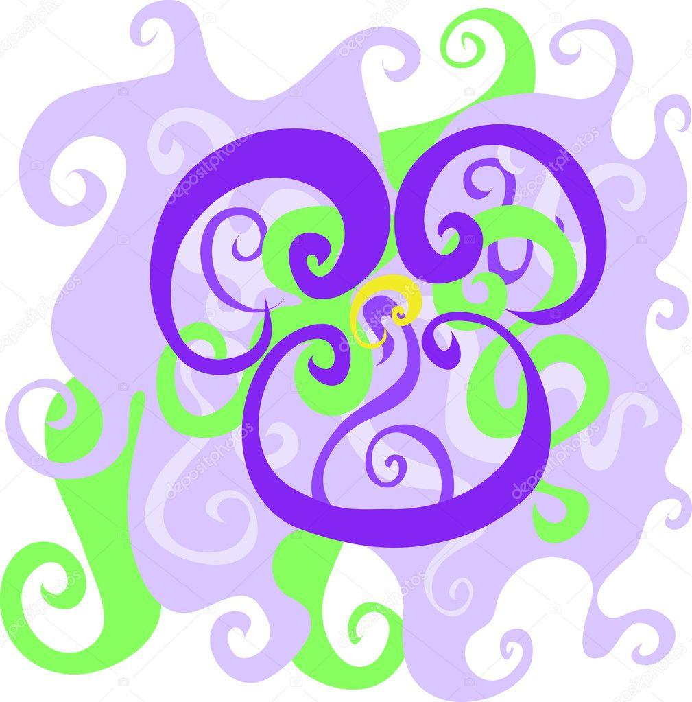 Dessin Stylise Abstrait De Fleur Violette Image Vectorielle