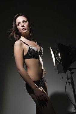 Woman in lingerie posing.