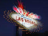 Verschwommenes Las Vegas Willkommensschild