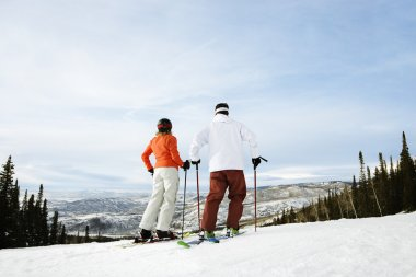 Skier Couple on Mountain