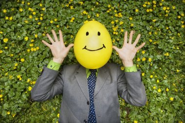 Businessman with Happy Balloon Face