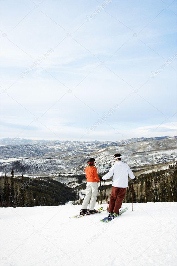 Skiers on Mountain Overlooking Valley