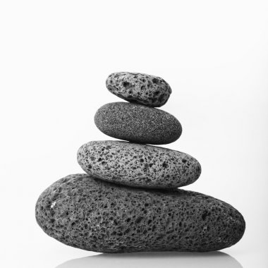 Cairn of smooth stones.