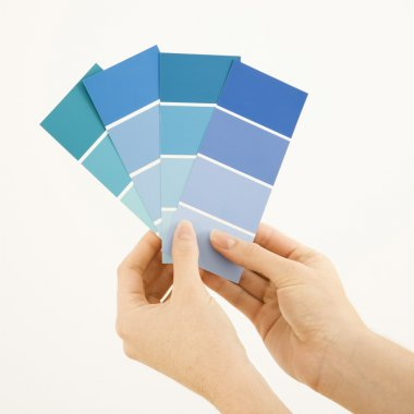 Woman holding paint swatches.