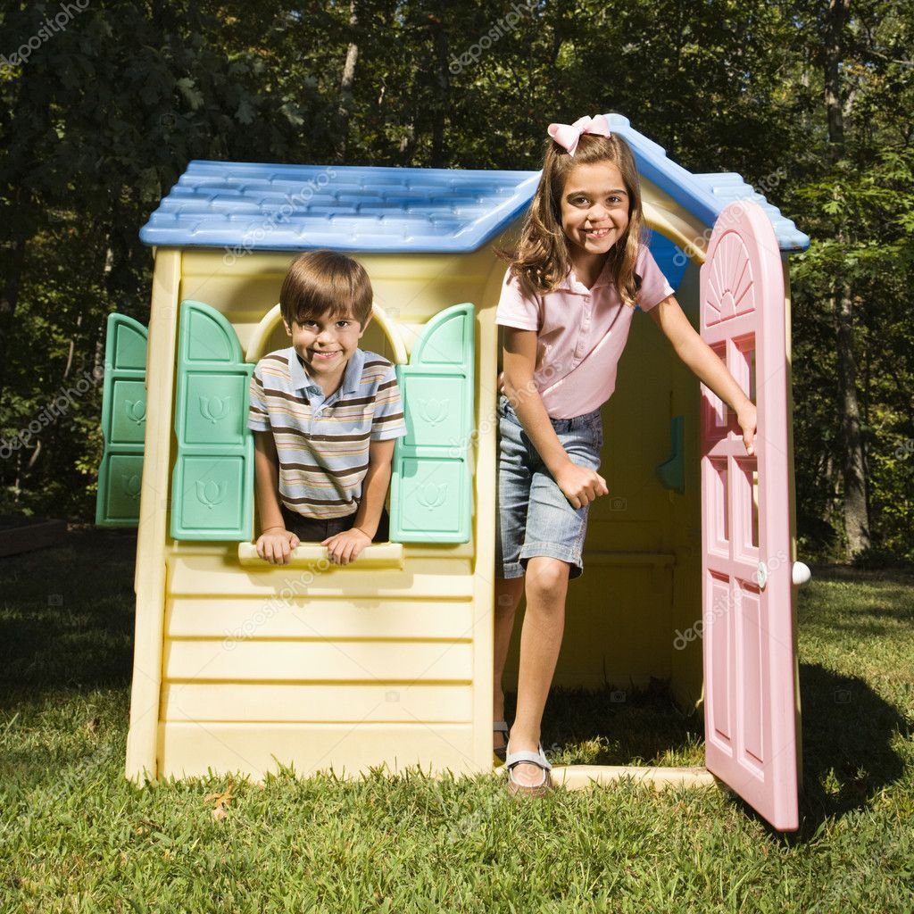 Kids in playhouse.