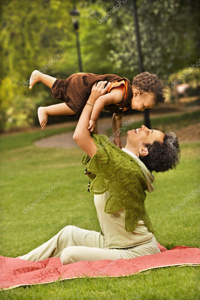 Woman and boy in park