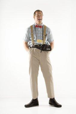 Man dressed as nerd.