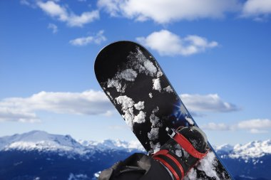 Snowboard and mountain. stock vector