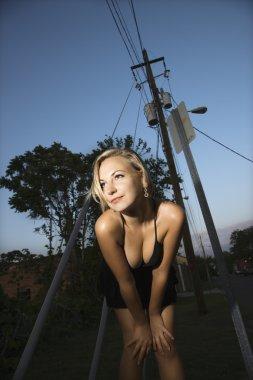Flirty blonde woman.