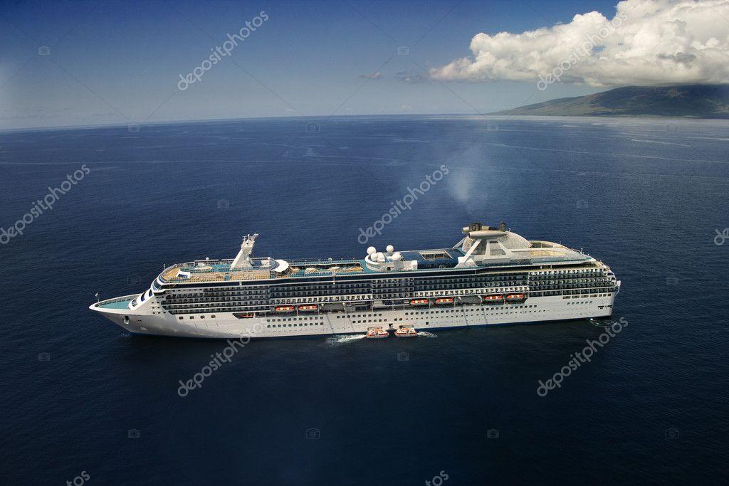 Cruise liner at sea.
