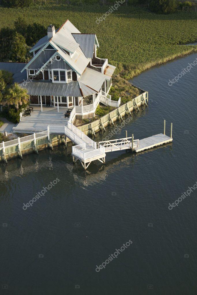 Coastal home with dock.