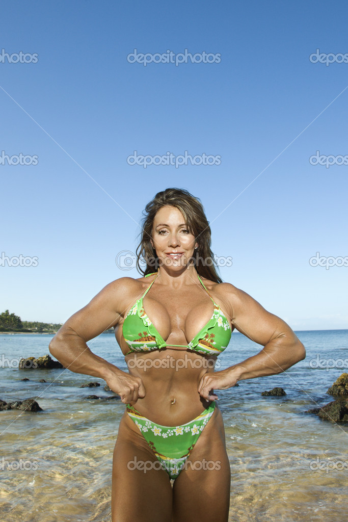 Woman bodybuilder.