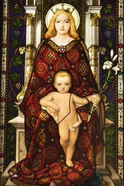 Stained Glass Window of Madonna and Child