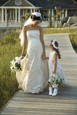 Bride and flower girl walking.
