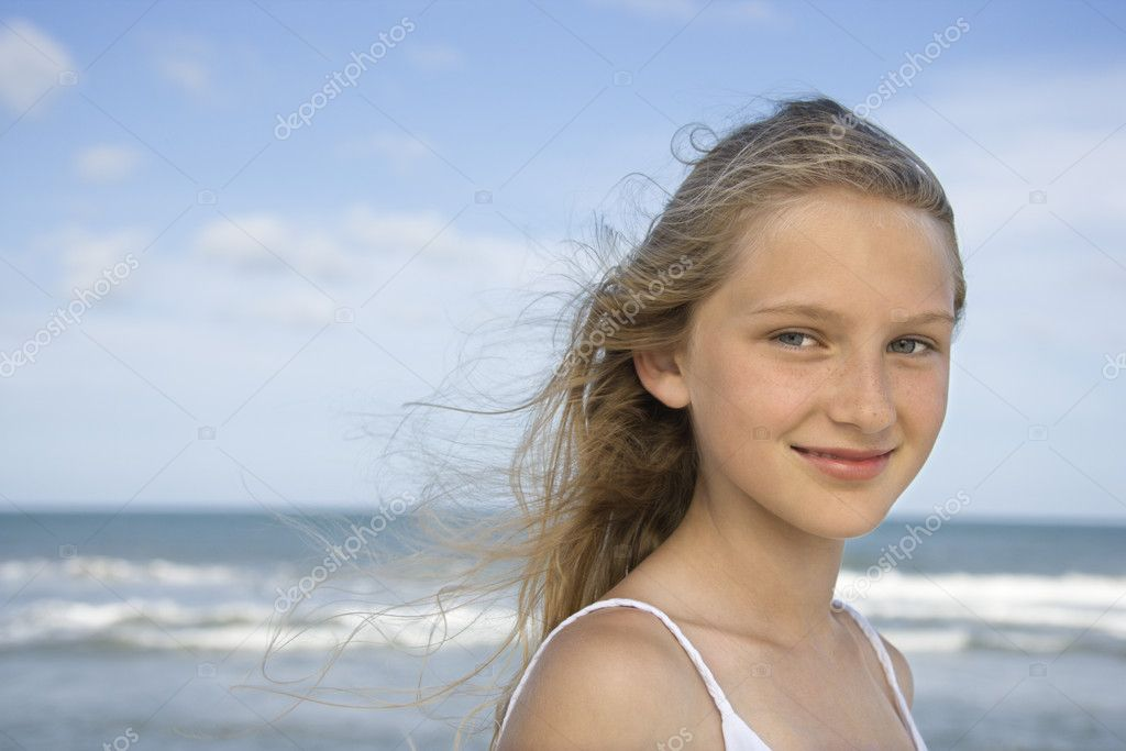 Portrait of girl on beach.