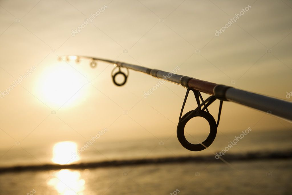 Fishing pole at sunset.
