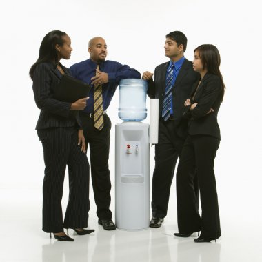 Group at water cooler.
