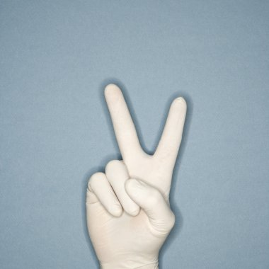 Hand giving peace sign.