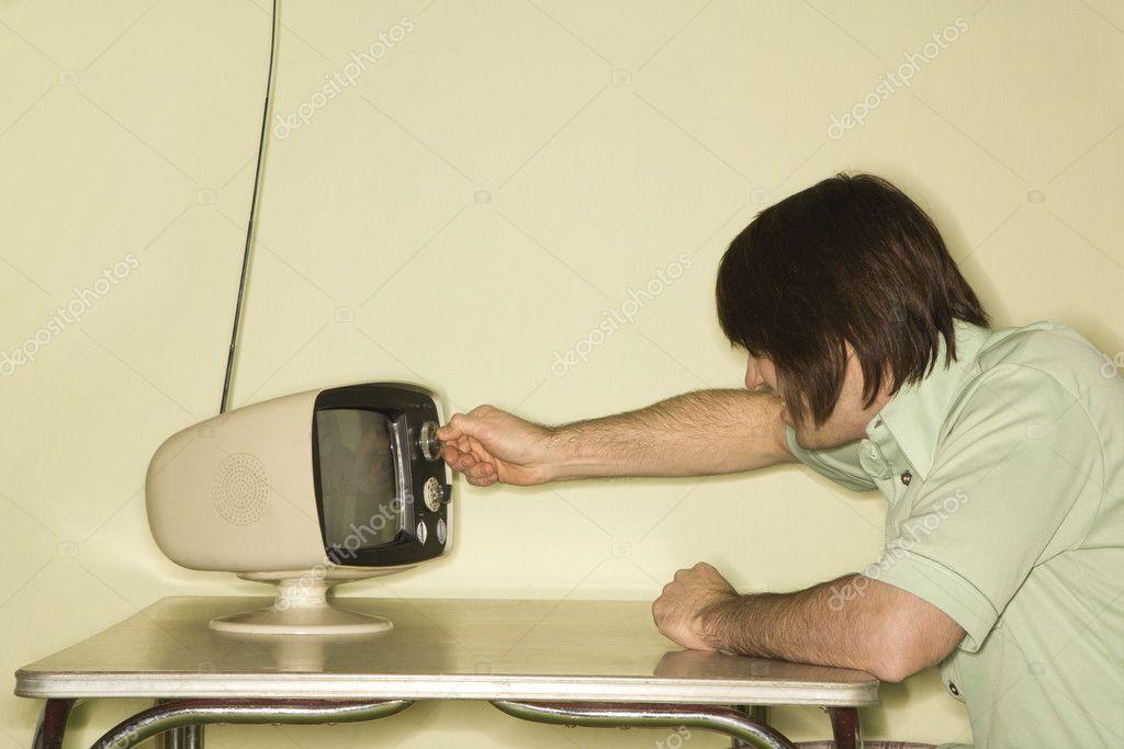 Man with retro television  — Stock Photo © iofoto #9549100