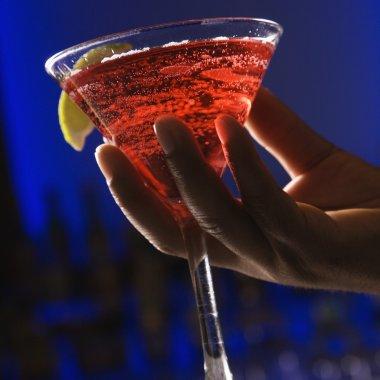 Hand holding martini.