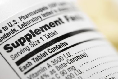 Closeup of a dietary supplement label listing the vitamins contained within each tablet. Horizontal shot. stock vector