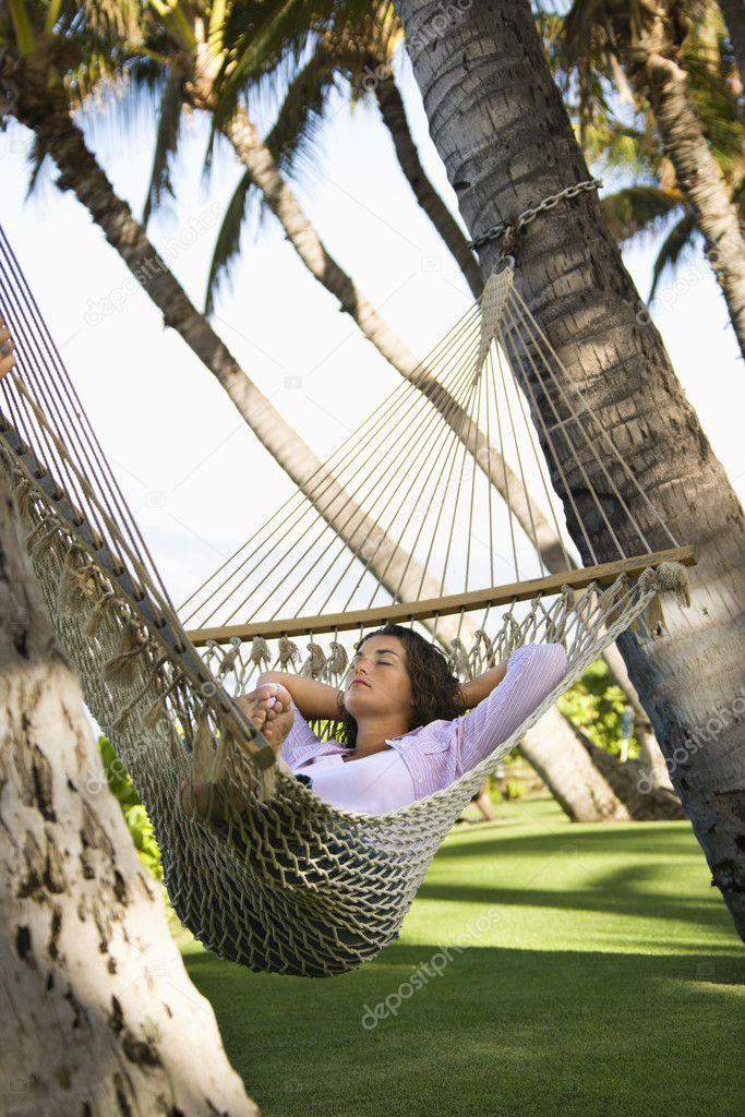 Female in hammock.