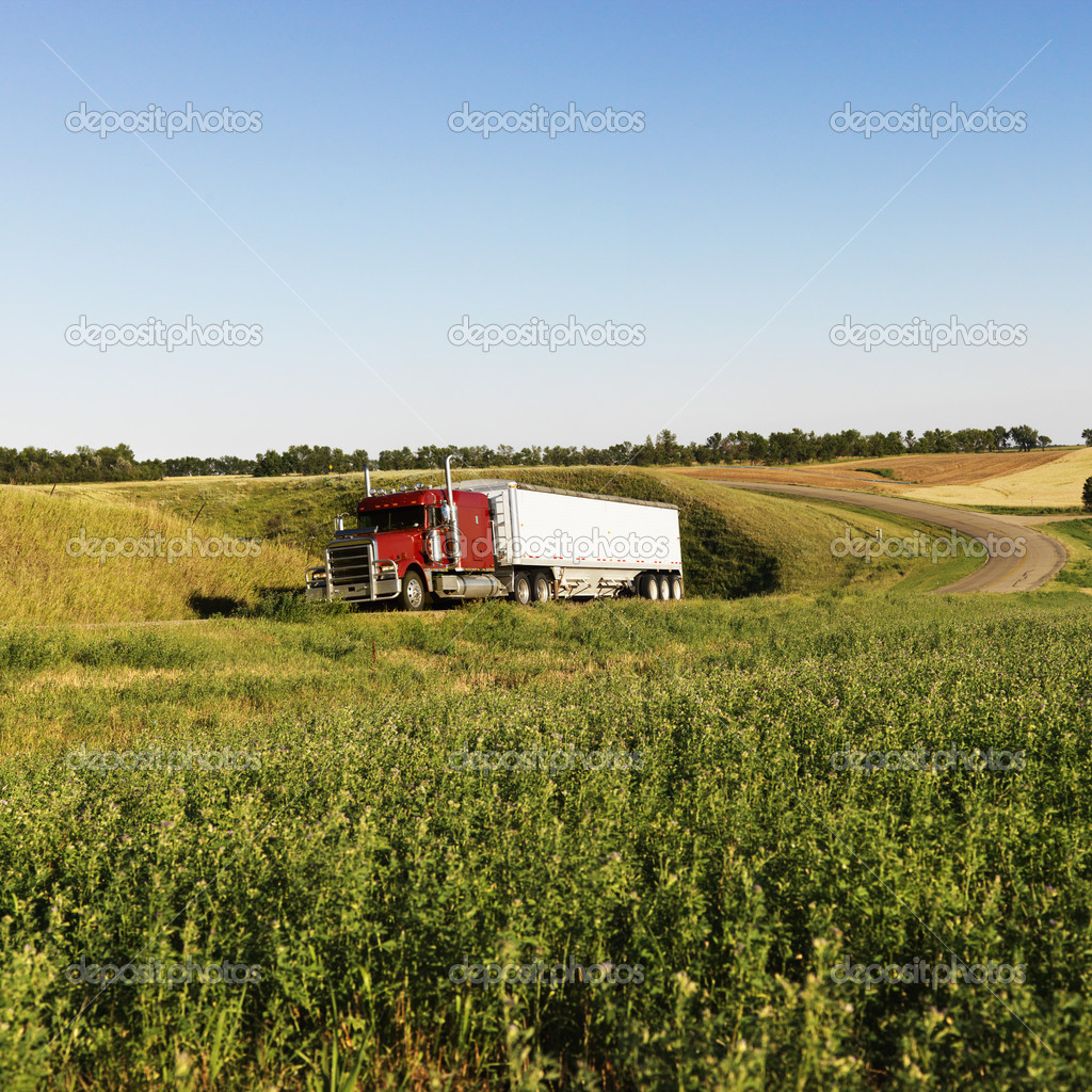 Semi truck on rural road.