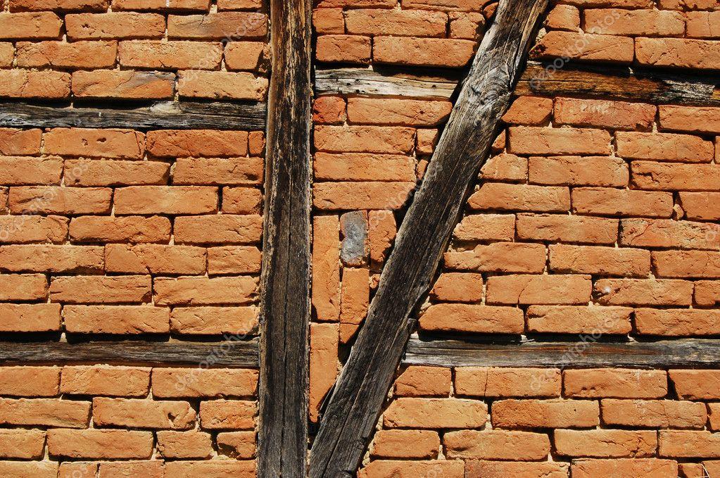 marco-construya muro granero con entramado de madera — Foto de stock ...