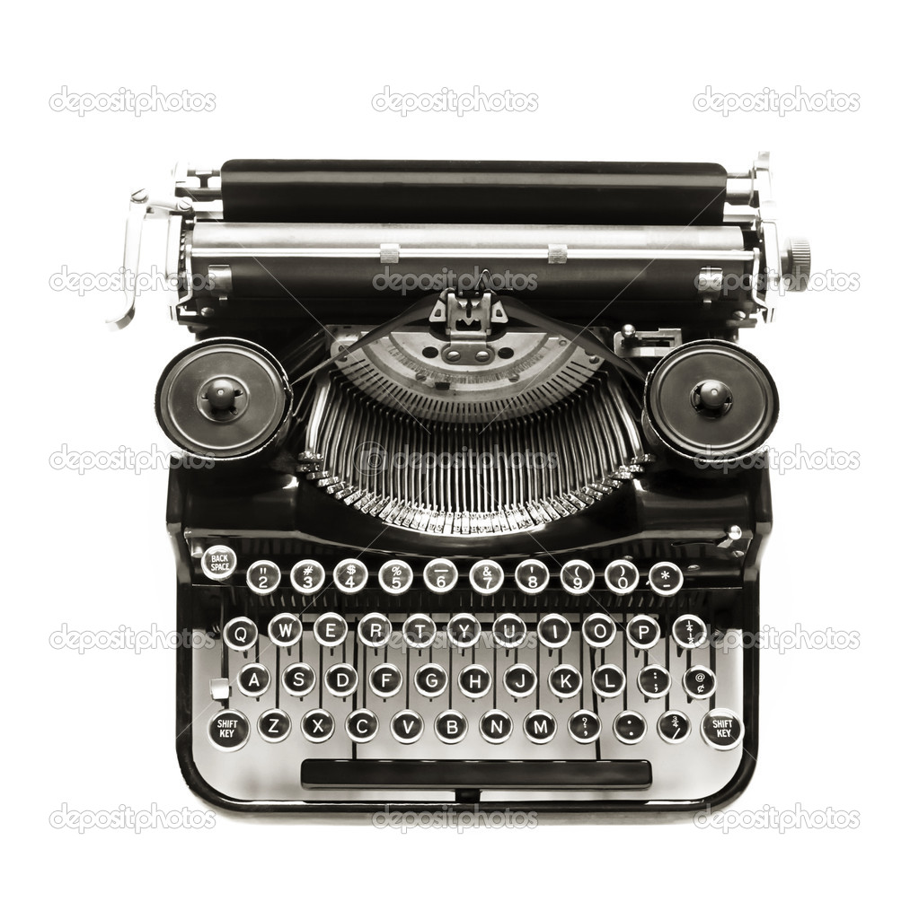 Antique typewriter a white backdrop.