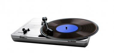 Retro portable turntable isolated and vinyl