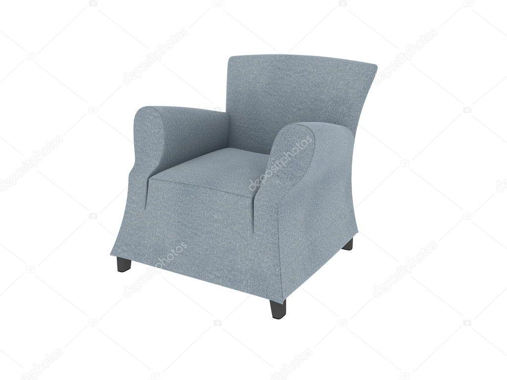 Een schot van de studio van een witte lederen fauteuil geïsoleerd