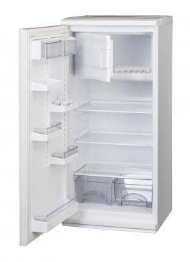 The image of open refrigerator under the white background