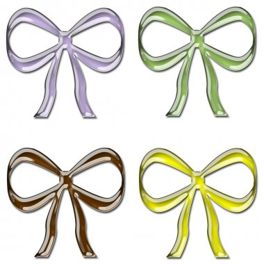 Colorful Glass Bows Set 2