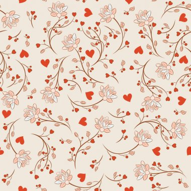 Seamless pattern with flowers lotos, vector floral illustration in vintage style