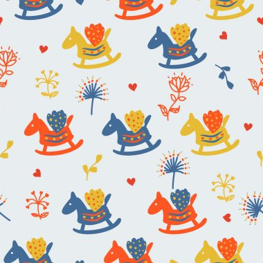 Horses seamless pattern with flowers