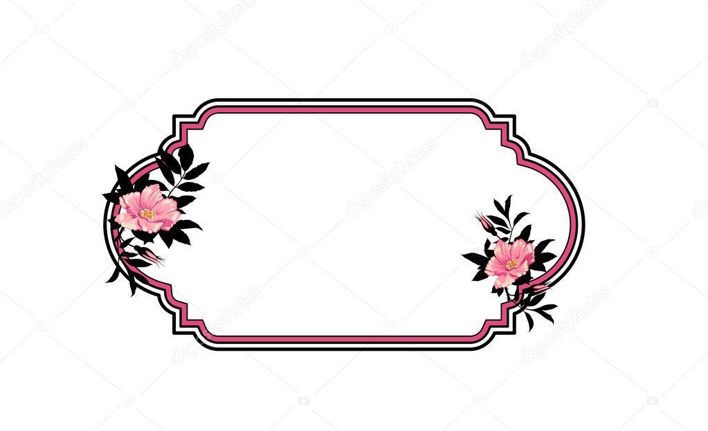 mano clásico dibujado marco ovalado con rosas — Foto de stock ...