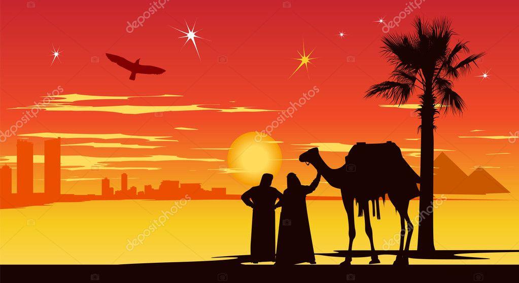 Travelers near palm-trees at sunrise