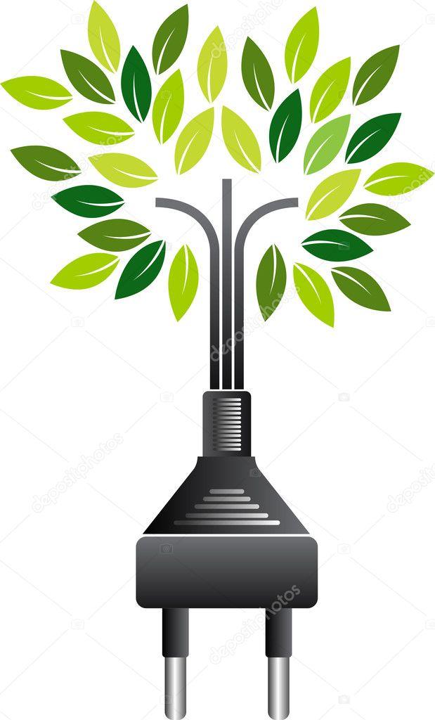Electrical plug green tree