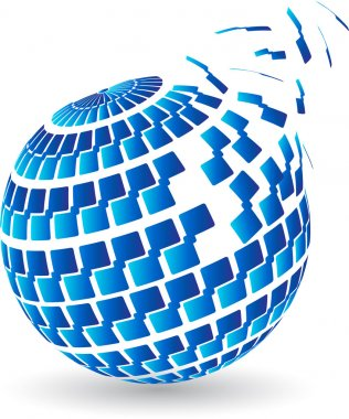 Blue globe splitting logo