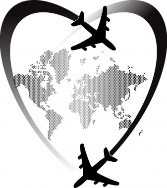 Illustration art of heart travel world with isolated background stock vector