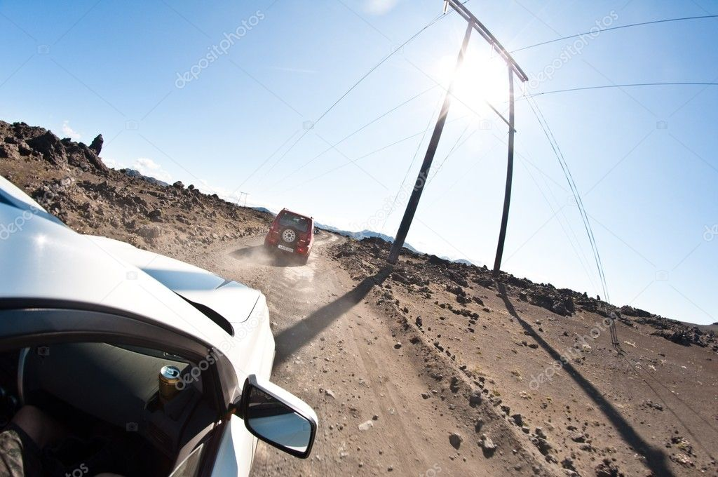 Driving in the rock desert - dangerous road
