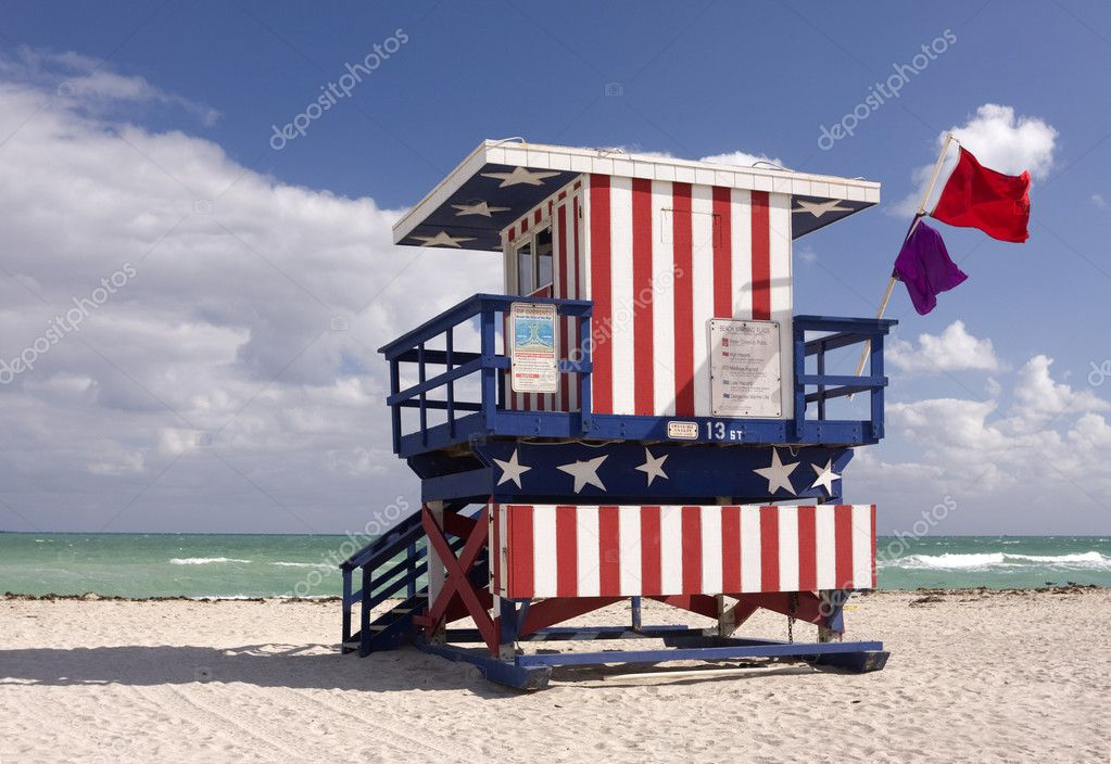 Summer scene with a lifeguard house in Miami Beach