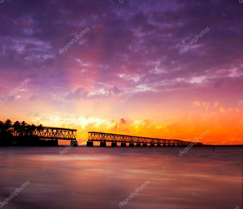 Florida Keys, broken bridge at sunset or sunrise