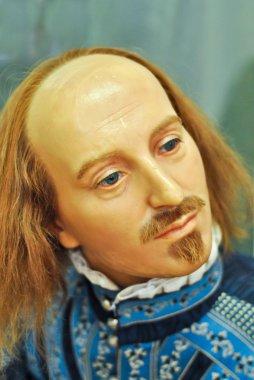 Wax statue of William Shakespeare.
