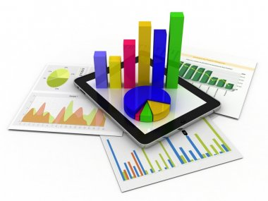 Tablet showing a spreadsheet and a paper with statistic charts,