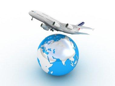 Passenger airplane travels around the world