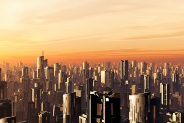 Metropolis Sunset 3D render smog