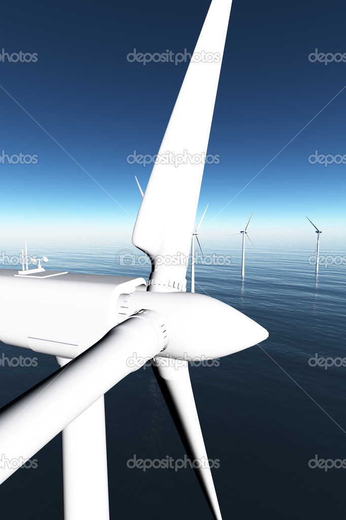 Windfarm in the sea 3D render 03